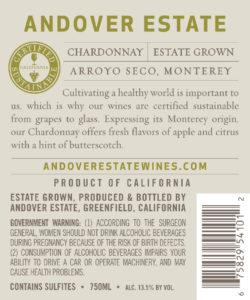 Andover Estate 2018 Chardonnay Back Label