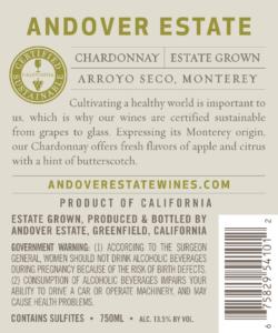 Andover Estate 2018 Chardonnay Back Label – transp