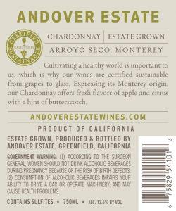 Andover Estate NV Chardonnay Back Label
