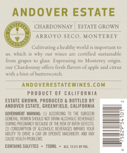 Andover Estate NV Chardonnay Back Label – transp