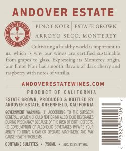 Andover Estate NV Pinot Noir Back Label