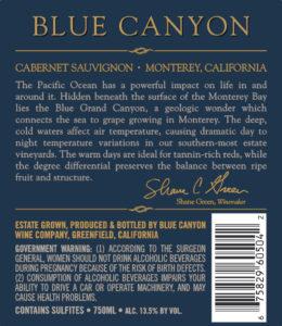 Blue Canyon 2018 Cabernet Sauvignon Back Label
