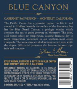 Blue Canyon 2018 Cabernet Sauvignon Back Label – transp