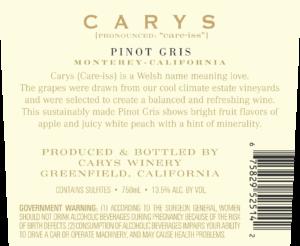 Carys 2018 Pinot Gris Back Label – transp