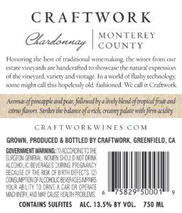 Craftwork 2018 Chardonnay Back Label