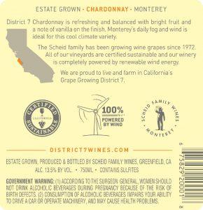District 7 NV Chardonnay Back Label