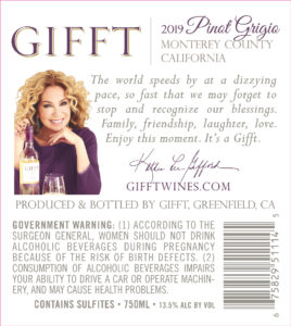 GIFFT 2019 Pinot Grigio Back Label