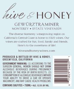 Hive & Honey 2019 Gewurzt Back Label