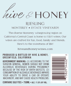 Hive & Honey 2019 Riesling Back Label