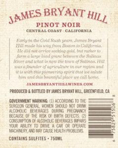 James Bryant Hill 2018 Pinot Noir Back Label