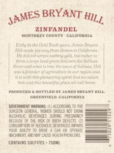 James Bryant Hill 2018 Zinfandel Back Label