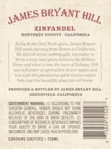 James Bryant Hill 2018 Zinfandel Back Label – transp