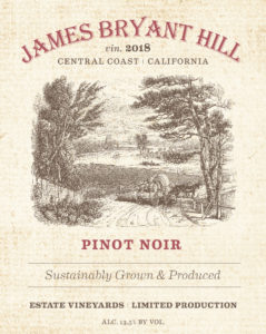 James Bryant Hill 2018 Pinot Noir Label