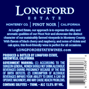 Longford Estate 2018 Pinot Noir Back Label