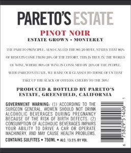 Pareto's Estate 2018 Pinot Noir Back Label