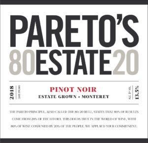 Pareto's Estate 2018 Pinot Noir Label