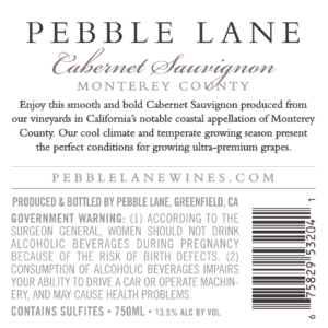 Pebble Lane 2018 Cabernet Sauvignon Back Label – transp