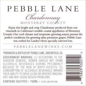 Pebble Lane 2018 Chardonnay Back Label