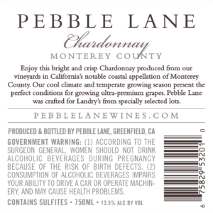 Pebble Lane 2018 Chardonnay Back Label – transp