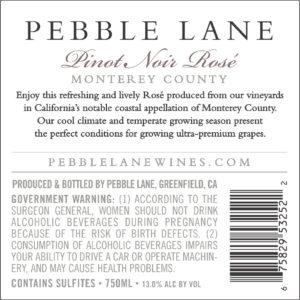 Pebble Lane 2019 Pebble Lane Pinot Noir Rose Back Label – transp