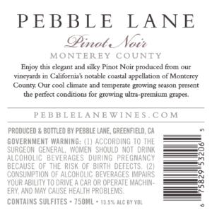 Pebble Lane 2018 Pinot Noir Back Label – transp