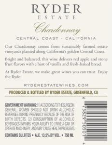 Ryder Estate 2018 Chardonnay Back Label – transp