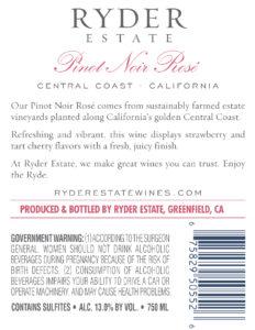 Ryder Estate 2019 Pinot Noir Rose Back Label