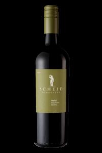 Scheid Vineyards 2017 Merlot Bottle Shot – transp