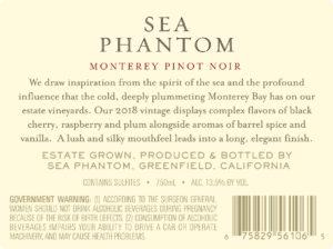 Sea Phantom 2018 Pinot Noir Back Label