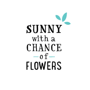 Sunny with a Chance of Flowers Primary Logo – Blue