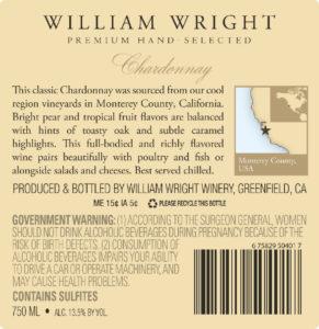 William Wright 2018 Chardonnay Back Label
