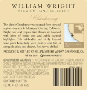 William Wright 2018 Chardonnay Back Label – transp