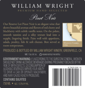 William Wright 2018 Reserve Pinot Noir Back Label