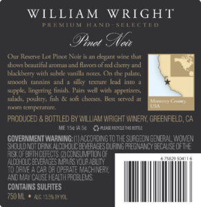 William Wright 2018 Reserve Pinot Noir Back Label – transp