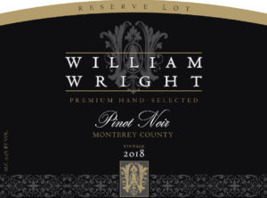 William Wright 2018 Reserve Pinot Noir Label