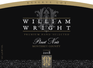 William Wright 2018 Reserve Pinot Noir Label – transp