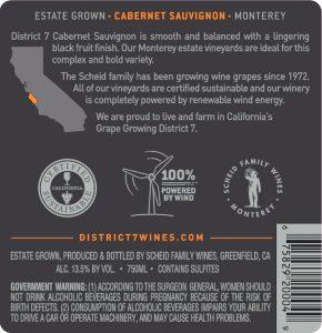 District 7 NV Cabernet Sauvignon Back Label