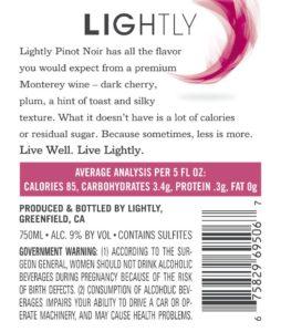 Lightly 2018 Pinot Noir Back Label