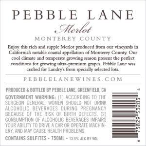 Pebble Lane 2017 Merlot Back Label