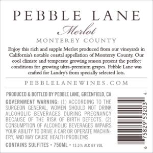 Pebble Lane 2017 Merlot Back Label – transp
