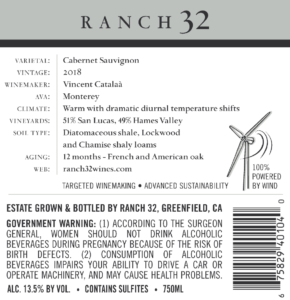 Ranch 32 2018 Cabernet Sauvignon Back Label – transp