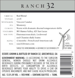 Ranch 32 2018 Cooper's Blend Back Label