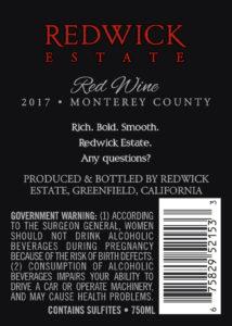 Redwick Estate 2017 Red Blend Back Label