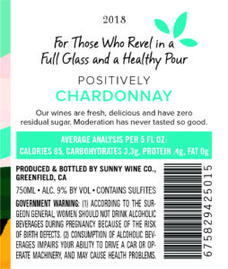 Sunny with a Chance of Flowers 2018 Chardonnay Back Label