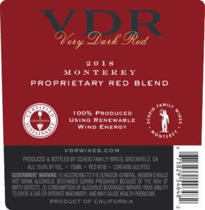VDR 2018 Red Blend Back Label