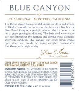 Blue Canyon 2018 Chardonnay Back Label