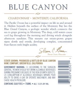 Blue Canyon 2018 Chardonnay Back Label – transp