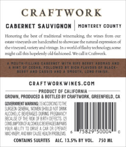 Craftwork 2018 Cabernet Sauvignon Back Label