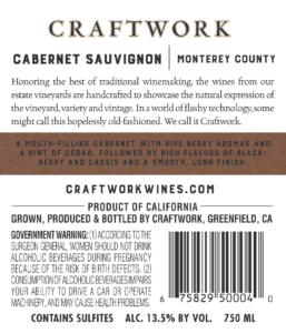 Craftwork 2018 Cabernet Sauvignon Back Label – transp