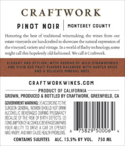 Craftwork 2018 Pinot Noir Back Label